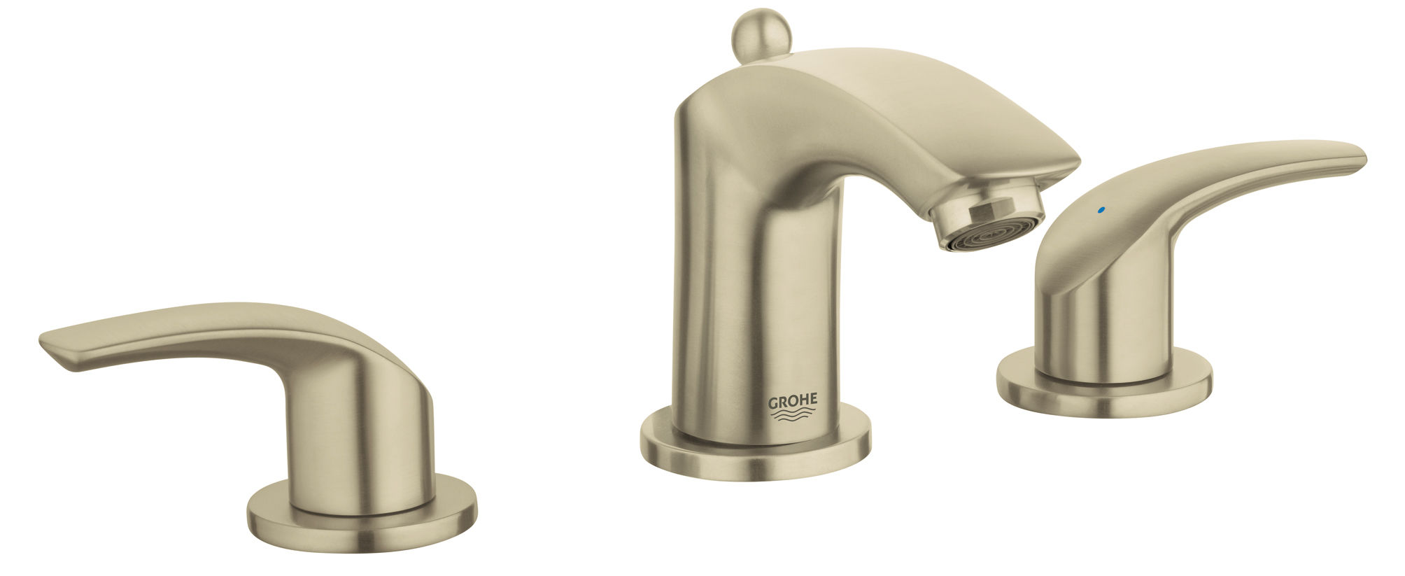 Grohe 124068 Warm Brushed Nickel Eurosmart Widespread Bathroom Faucet With  SilkMove Technology   Free Metal Pop Up Drain Assembly With Purchase ...