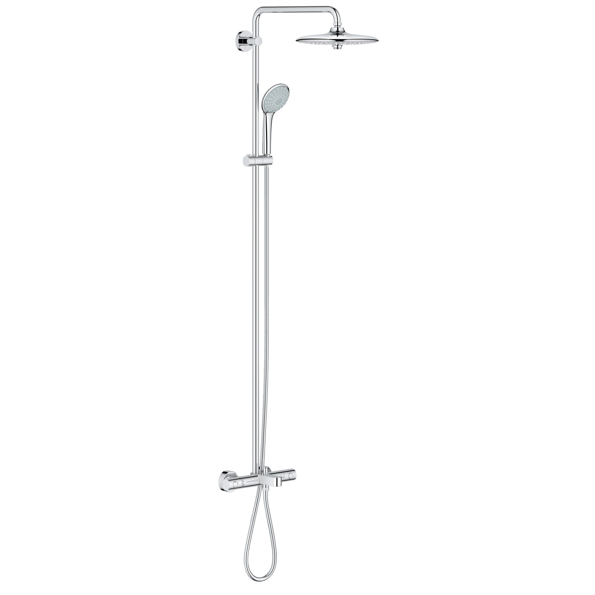 Grohe 26177001 Starlight Chrome Euphoria 260 Shower System With Multi Function Shower Head Integrated Tub Spout Slide Bar Hand Shower And 17 3 4 Swivel Shower Arm Faucetdirect Com