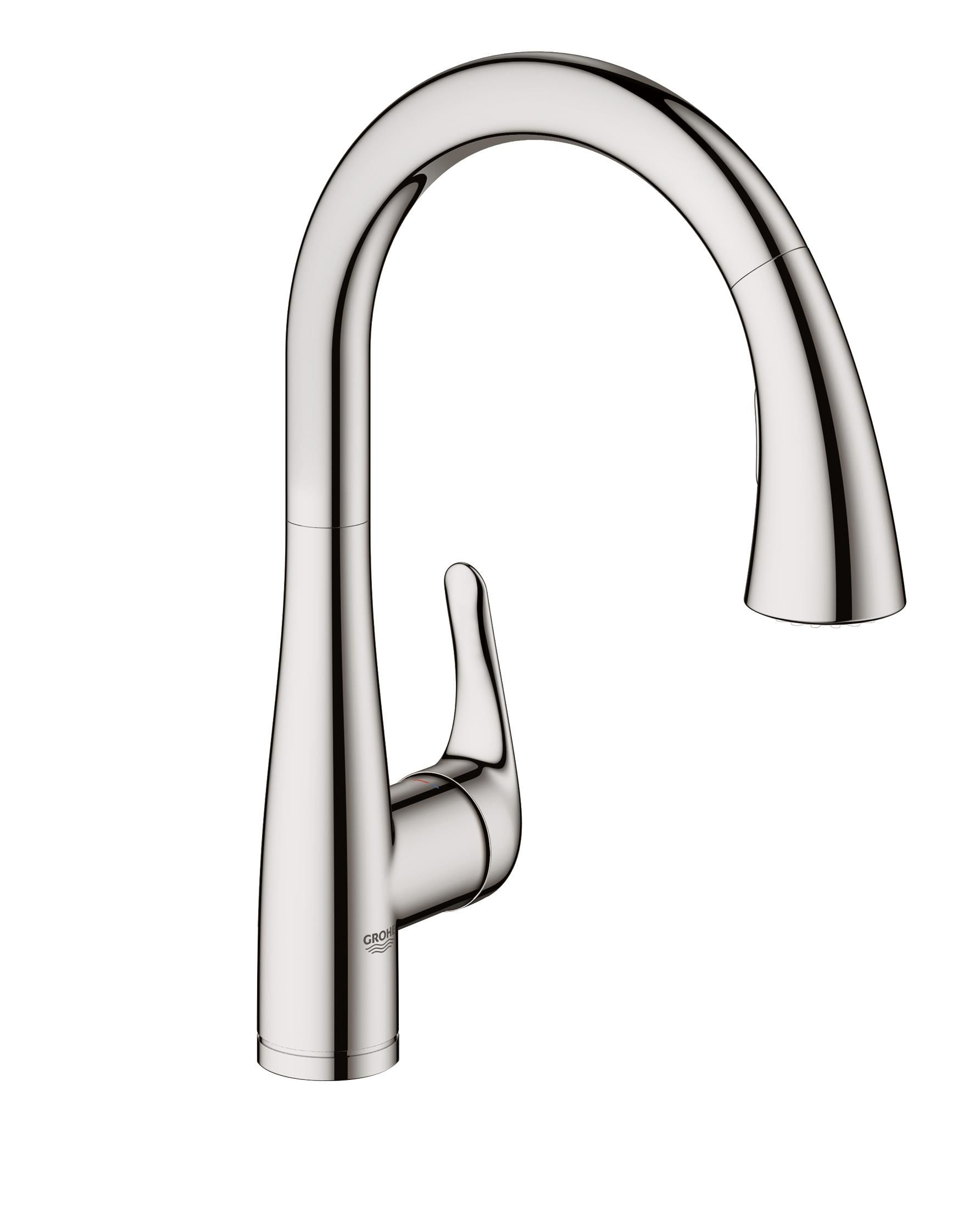 Grohe 30211DC0 SuperSteel Elberon Transitional Pull-Down Kitchen ...