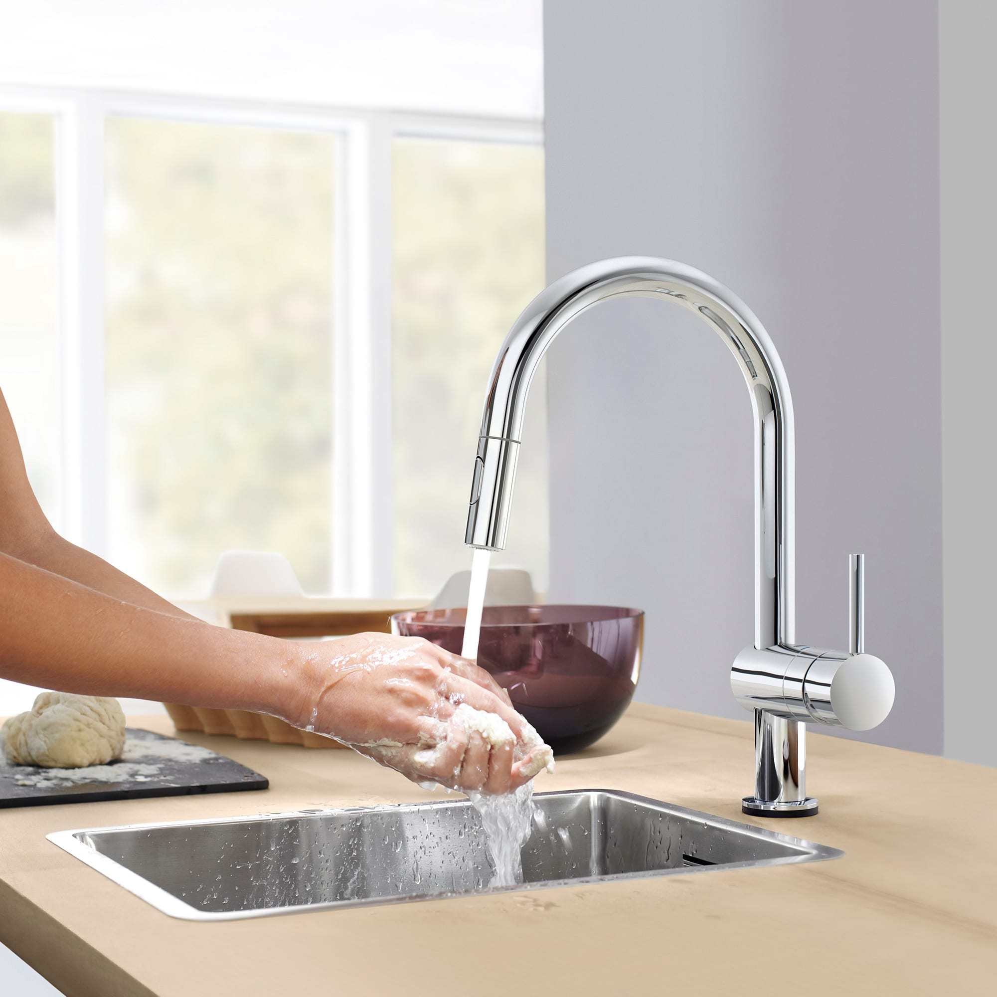 Grohe 31359dc2 Supersteel Minta 1 75 Gpm Single Hole Pull Down Kitchen Faucet With On Off Touch Activation Faucetdirect Com
