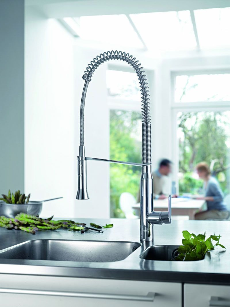Grohe 32951000 Starlight Chrome K7 Pre-Rinse Kitchen Faucet with 2 ...
