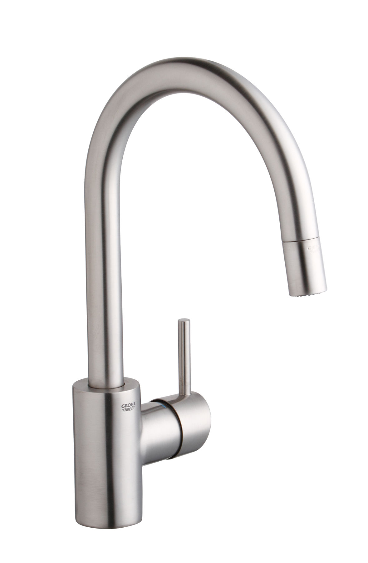 Grohe 32665dc1 supersteel concetto pull down high arc kitchen faucet with dual function locking sprayer faucet com