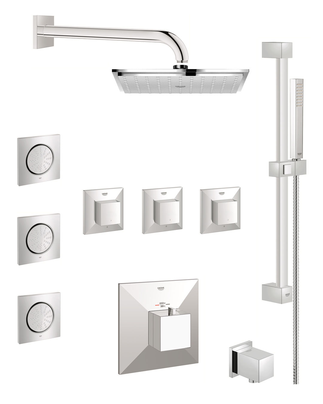 Grohe Gss Allure Cth 08 000 Starlight Chrome Allure Brilliant Thermostatic Shower System With Rain Shower Head Handshower Slide Bar Bodysprays And Volume Controls All Valves Included Faucetdirect Com