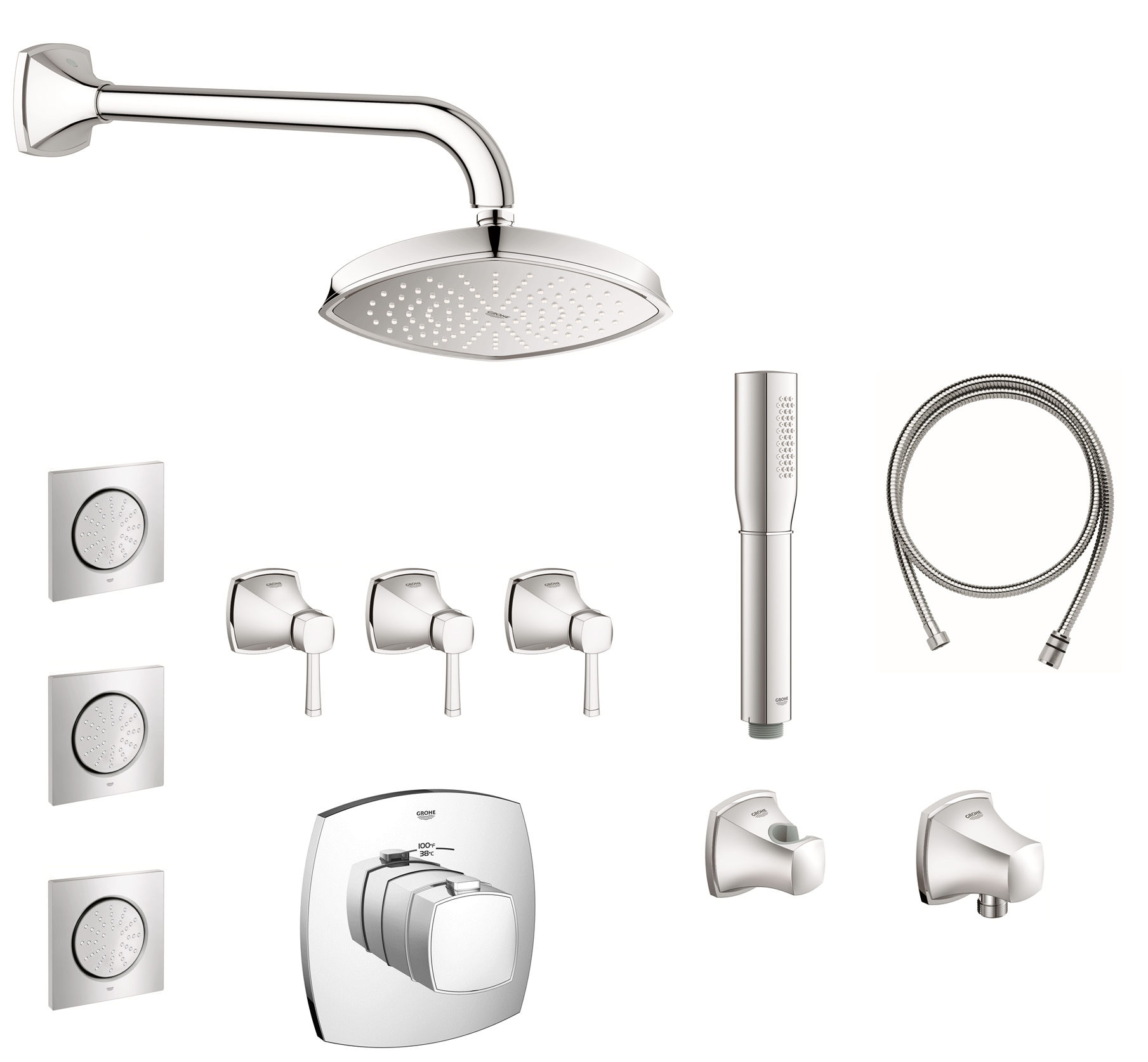 Grohe GSS-Grandera-CTH-08-000 Starlight Chrome Grandera Thermostatic ...