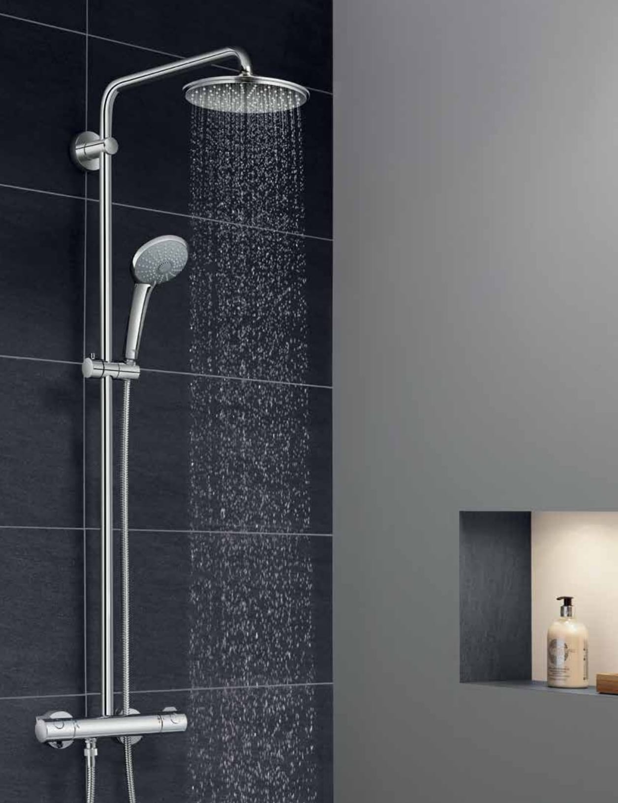 grohe starlight chrome euphoria shower system with adjustable hand shower holder dreamspray and turbostat