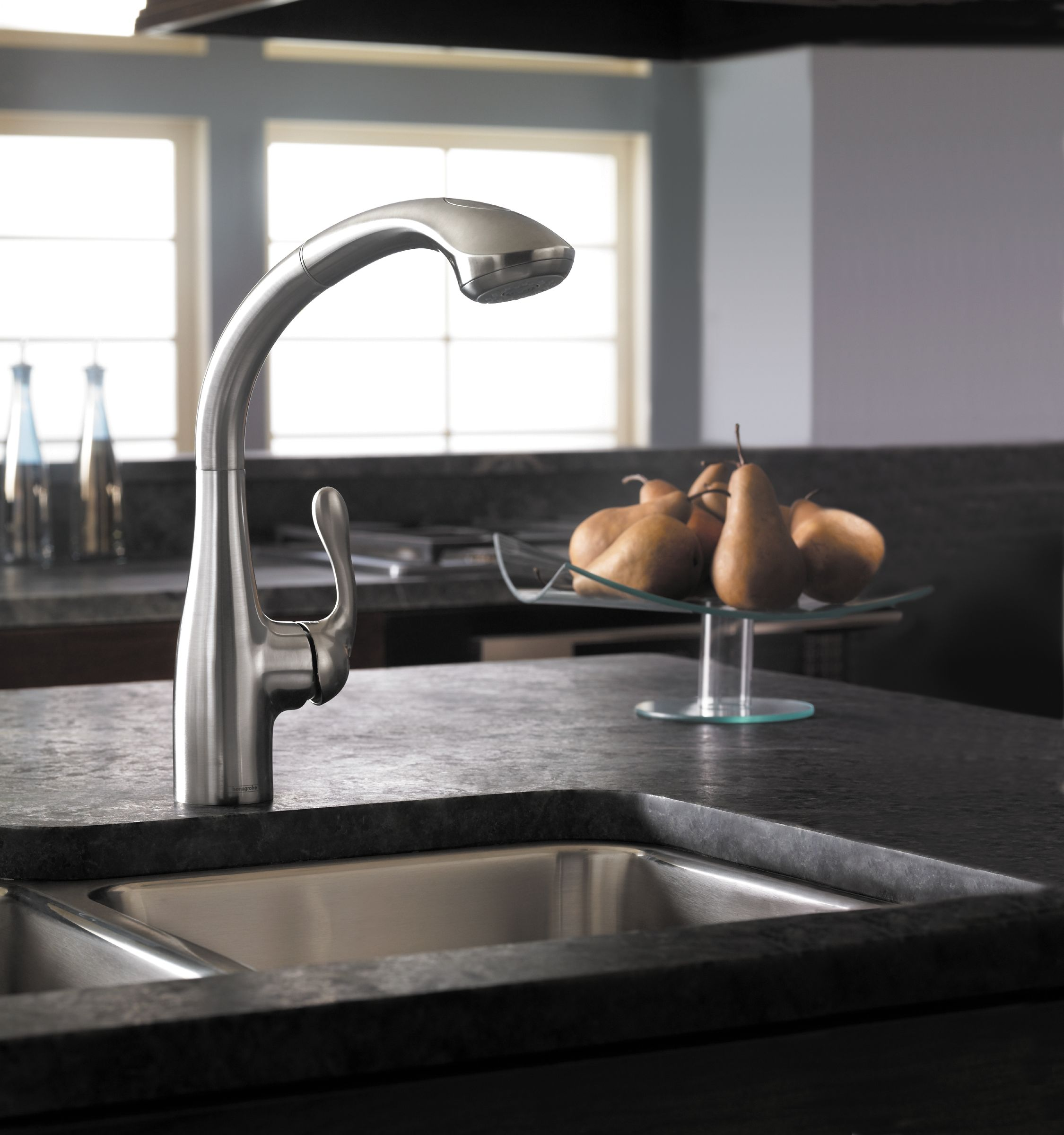 Hansgrohe 06461860 Steel Optik Allegro E Pull-Out Kitchen Faucet ...