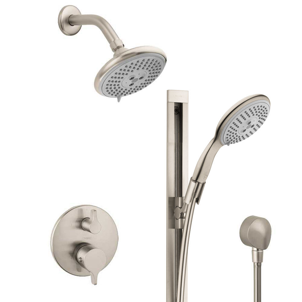 Hansgrohe HSS-SE-T02-820 Brushed Nickel S/E Thermostatic Shower ...