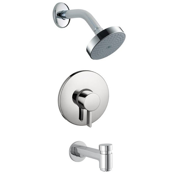 hansgrohe shower valve. Hansgrohe Undefined Brushed Nickel S Tub And Shower Valve Trim Pressure Balanced With Arm, Rain Head Diverter Spout Less