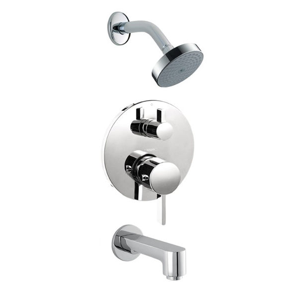 hansgrohe shower valve. Hansgrohe Undefined Chrome S Tub And Shower Valve Trim With Thermostatic / Volume Control, Diverter, Single Function Head Diverterless Spout