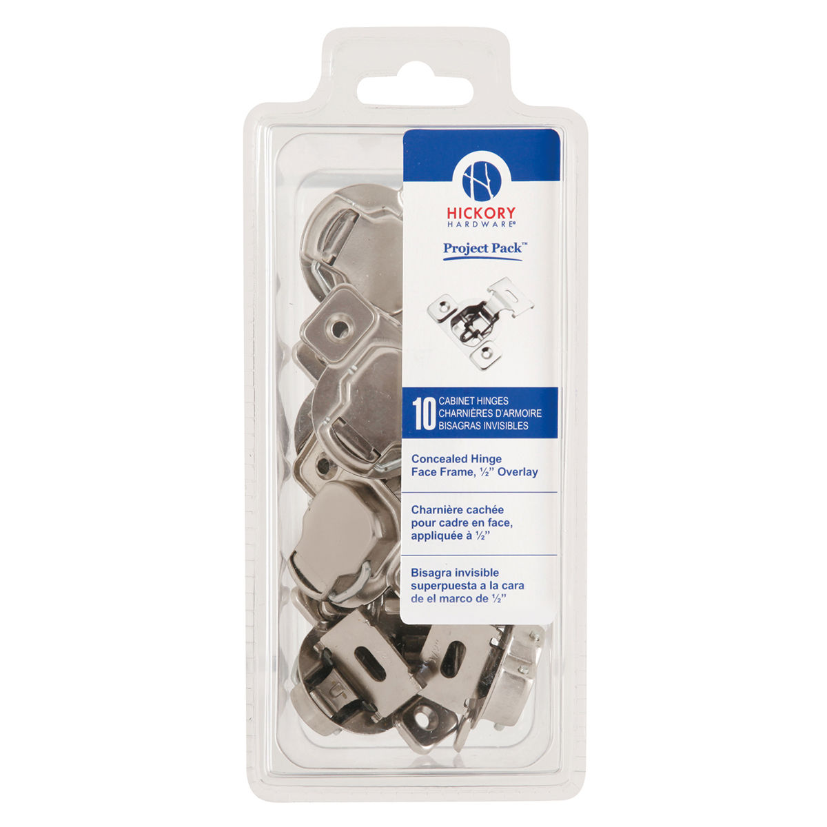 Hickory Hardware VP5125-14 Bright Nickel 1/2 Inch Overlay Concealed ...