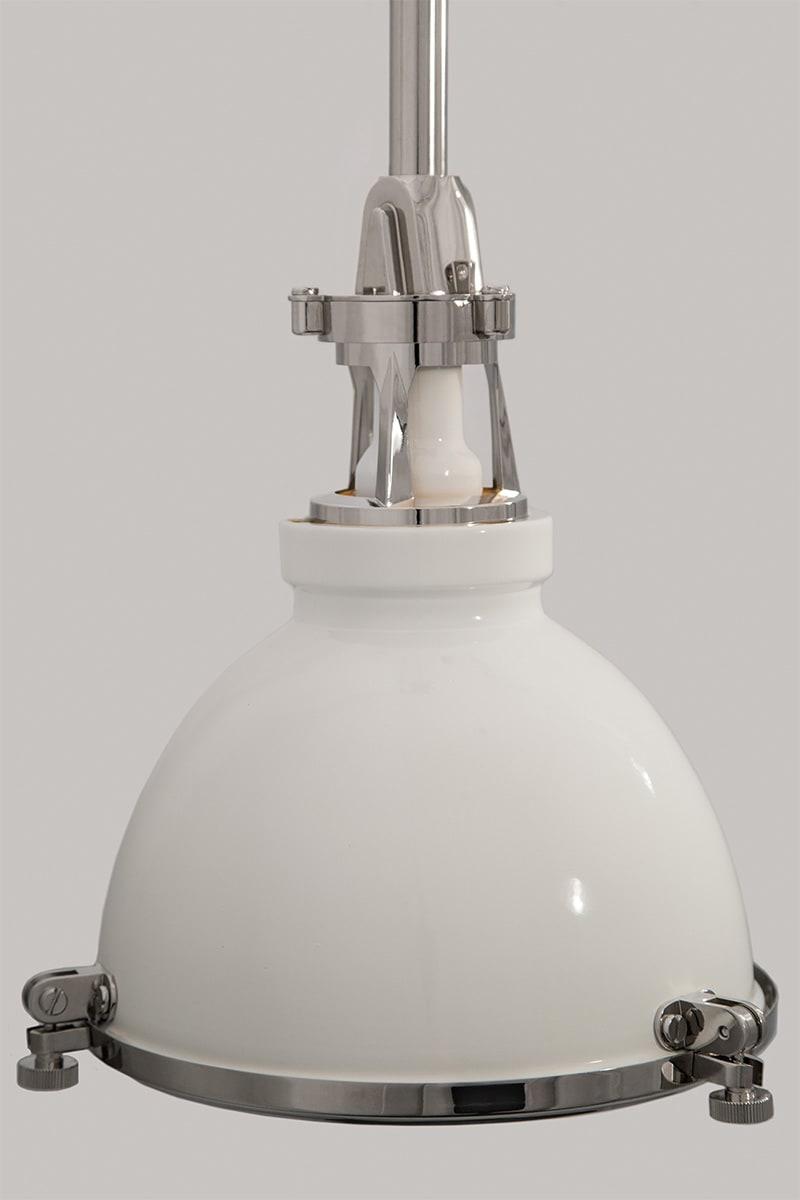 Hudson Valley Lighting 4614 Wpn White Polished Nickel Massena Single Light 14 Wide Pendant Lightingshowplace Com