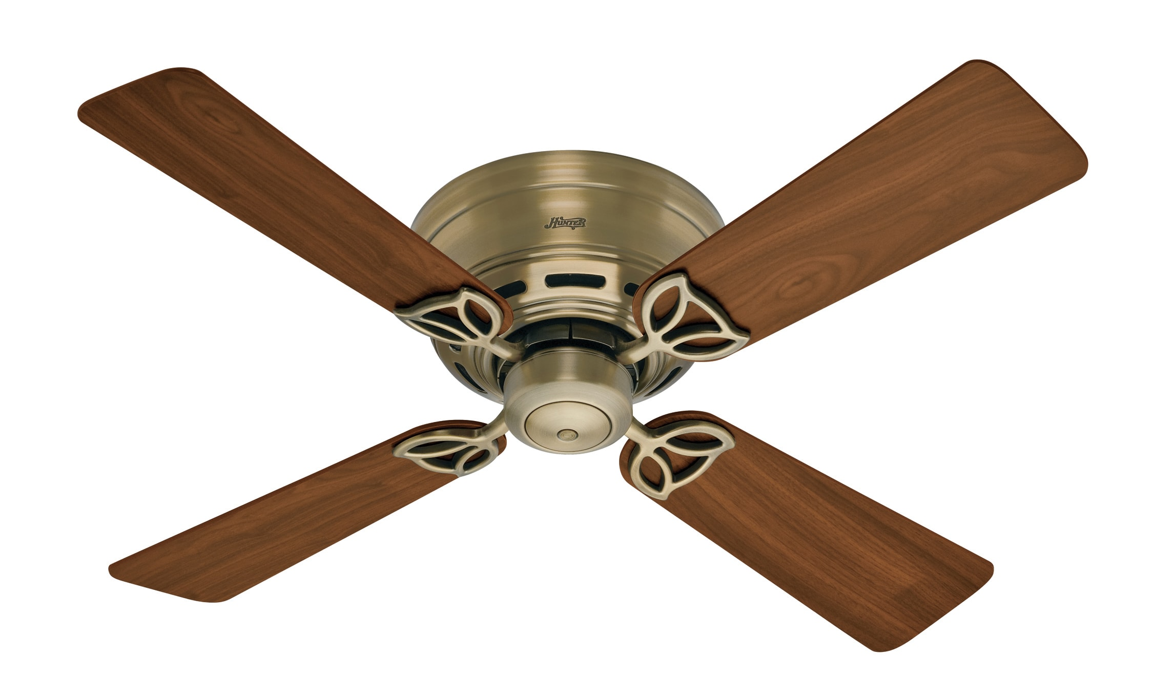Hunter 23860 Antique Brass 42 Low Profile Iii Ceiling Fan Blades Included Lightingdirect Com