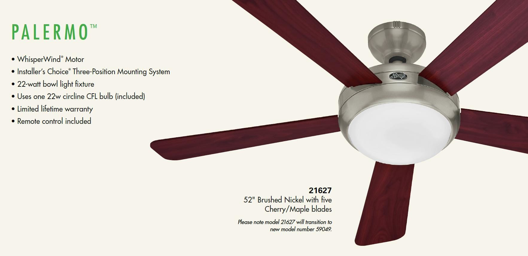 Hunter 59049 brushed nickel palermo 52 5 blade energy star ceiling hunter 59049 brushed nickel palermo 52 5 blade energy star ceiling fan blades light kit and remote included lightingdirect aloadofball Gallery