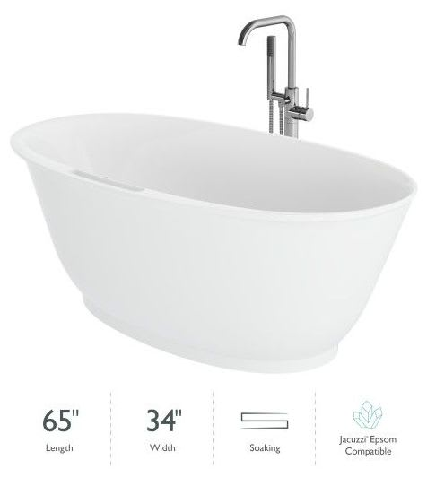 Jacuzzi Kab6534bcxxxxg Gloss White Karina 65 Free Standing Resin Stone Composite Soaking Tub With Center Drain Drain Assembly And Overflow Includes Floor Mounted Tub Filler With Hand Shower Faucetdirect Com