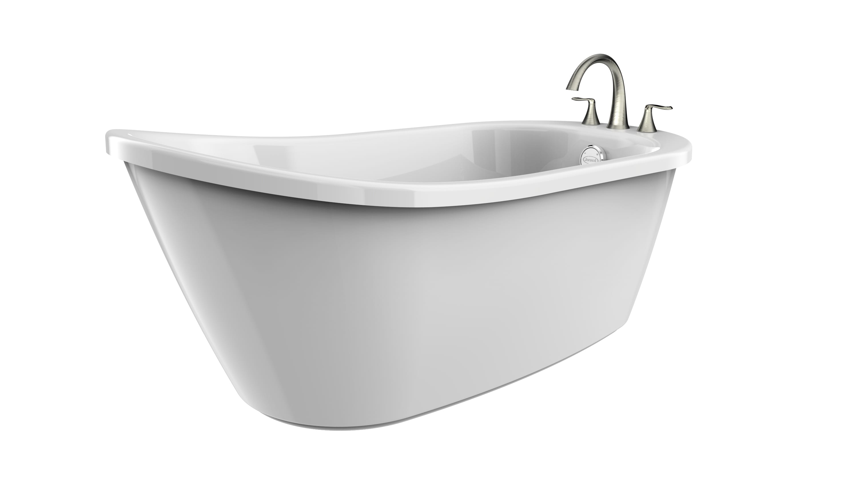 Jacuzzi Pnb5932buxxxxw White Brushed Nickel Tub Filler Piccolo 59 Whirlpool Washer Parts Diagram As Well Overflow Free Standing Soaking Bathtub With Mx22826 Faucet And Reversible Drain