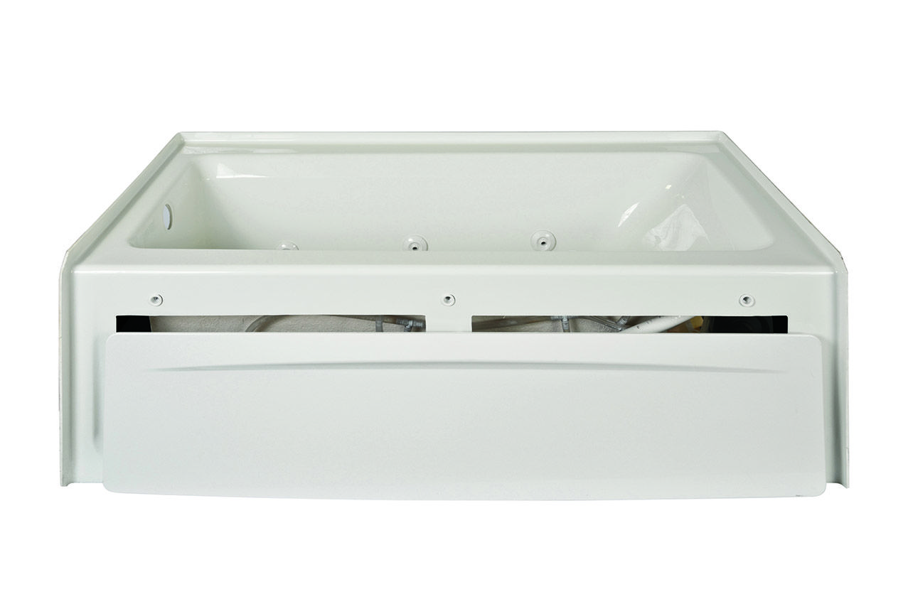 Jacuzzi J1s6032wlr1xxw White 60 Acrylic Whirlpool Bathtub For Three Bathroom Sink Drain Plumbing Diagram Bing Images Wall Alcove Installation With 6 Jets Air Controls Tiling Flange Skirt Left