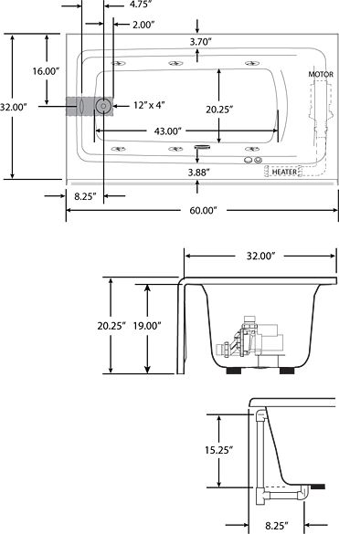 Jacuzzi J2t6032blxxxxy Oyster 60 X 32 Signature Drop In Soaking Bathtub With Tiling Flange And Left Drain Faucet Com