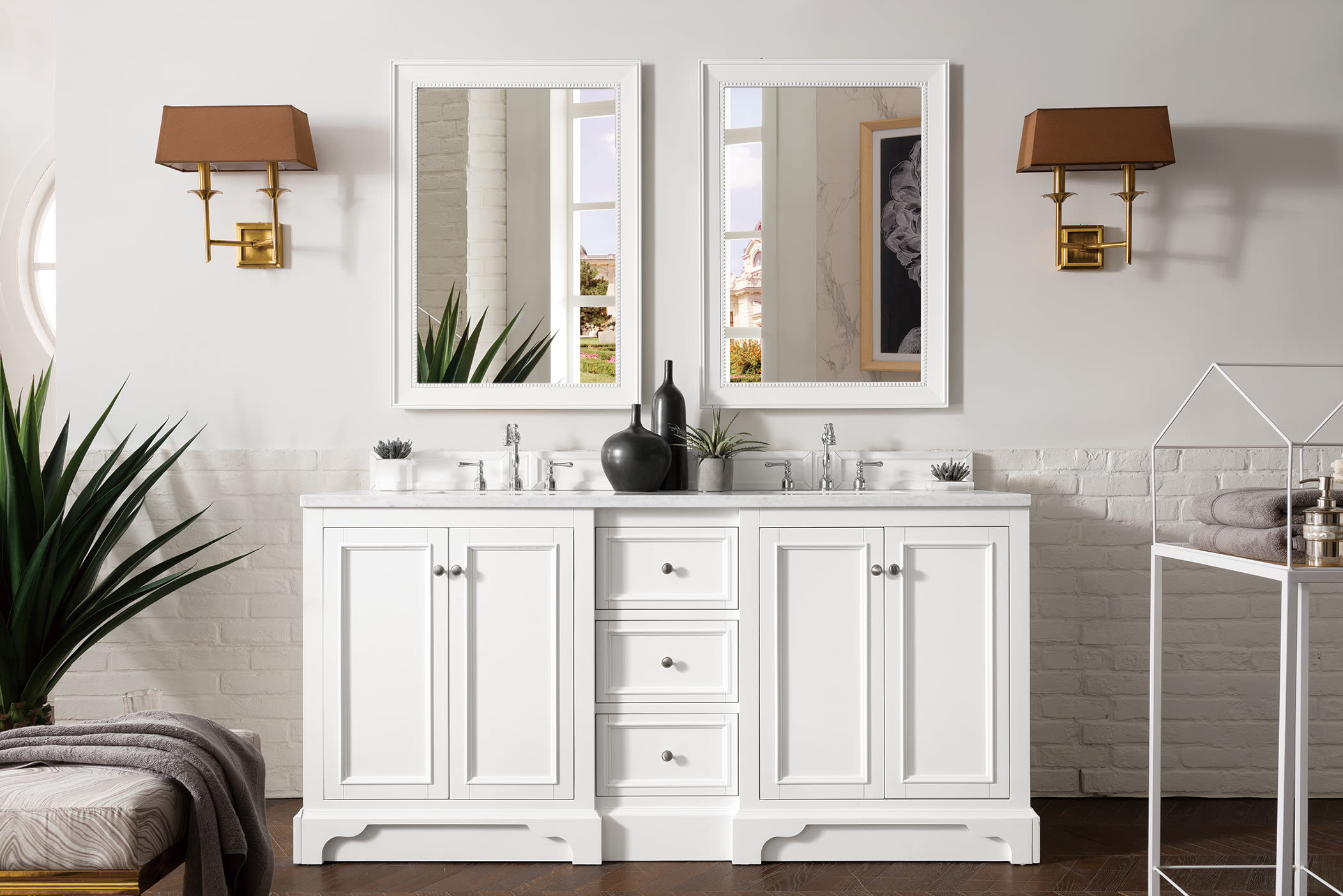 James Martin Vanities 825 V72 Bw 3clw Bright White De Soto 72 Double Basin Birch Wood Vanity Set With Usb Electrical Outlet And Classic White Quartz Vanity Top Faucetdirect Com