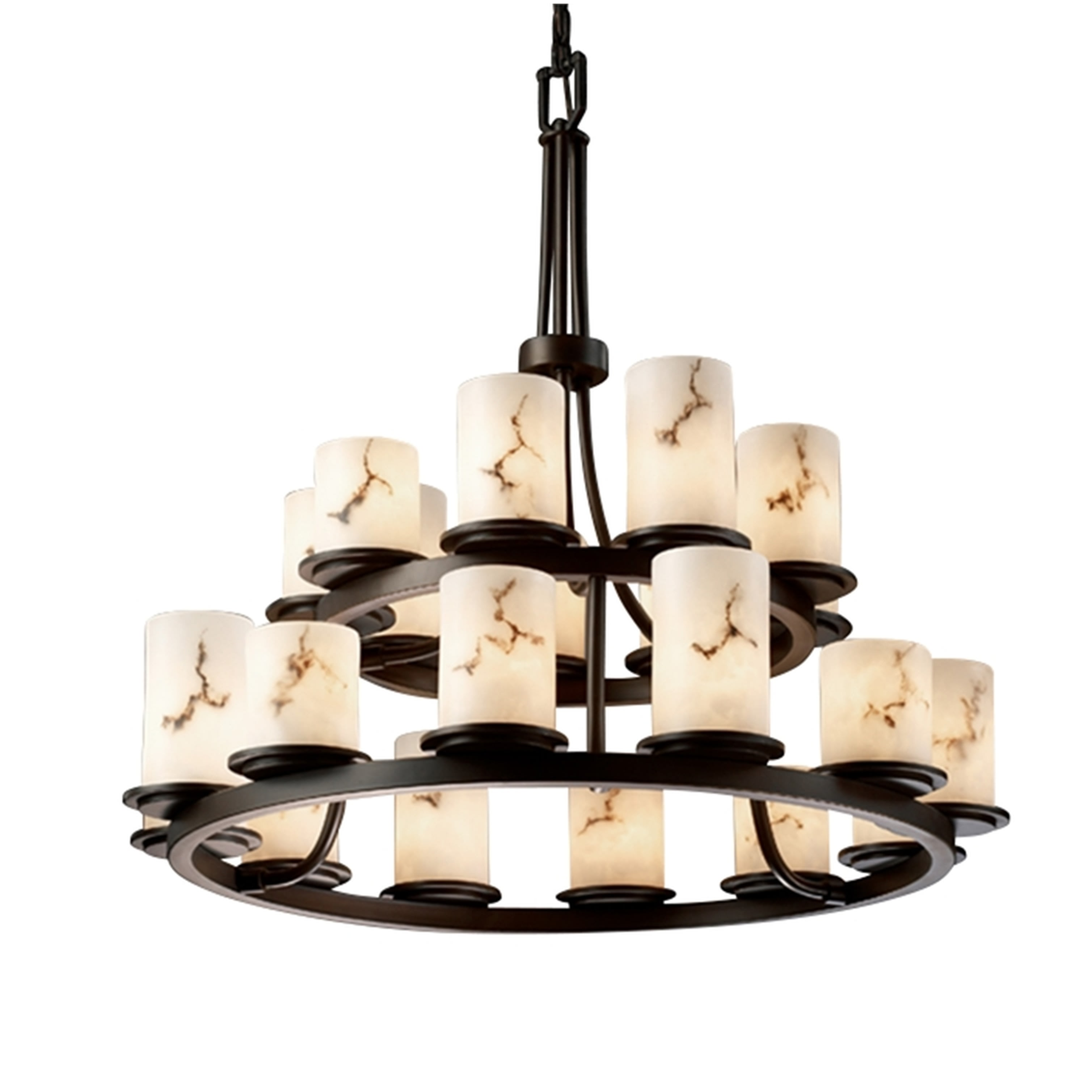 Picture of: Justice Design Group Fal 8767 10 Dbrz Dark Bronze Lumenaria 21 Light 33 Wide Pillar Candle Chandelier With Faux Alabaster Resin Shades Lightingdirect Com