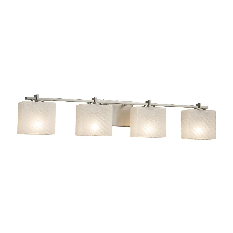 Justice Design Group Fsn 8444 55 Weve Nckl Brushed Nickel Fusion 4 Light 35 3 4 Wide Bathroom Vanity Light With Woven Artisan Glass Shade Lightingdirect Com