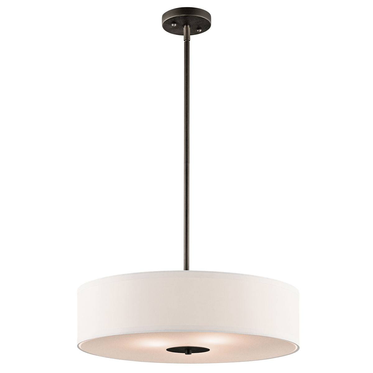 Kichler 42121ni Brushed Nickel 3 Light 20 Wide Convertible Pendant Semi Flush Ceiling Fixture With Drum Fabric Shade Lightingdirect Com