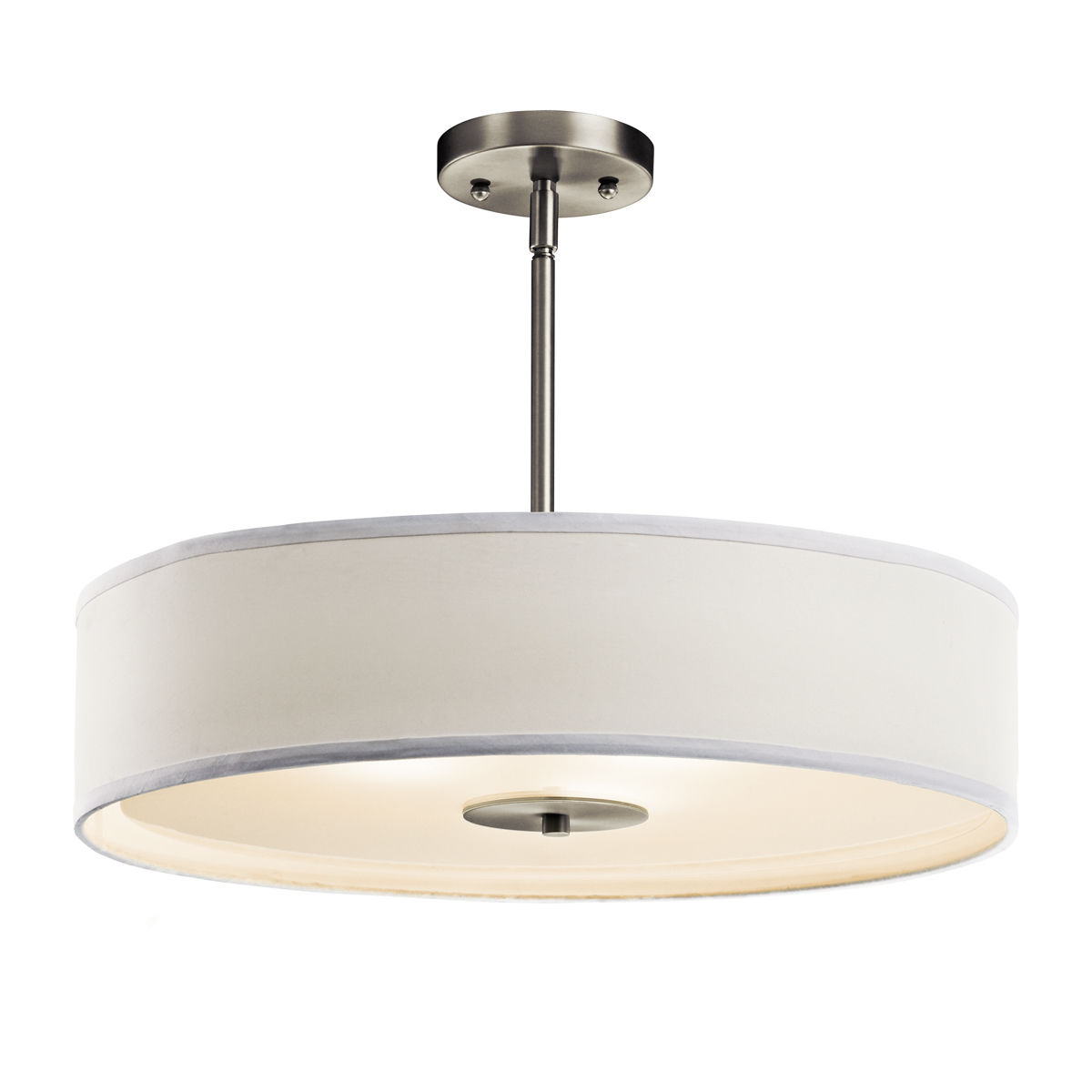 Kichler 42121ni brushed nickel 3 light 20 wide convertible kichler 42121ni brushed nickel 3 light 20 wide convertible pendant semi flush ceiling fixture with drum fabric shade lightingdirect aloadofball Choice Image