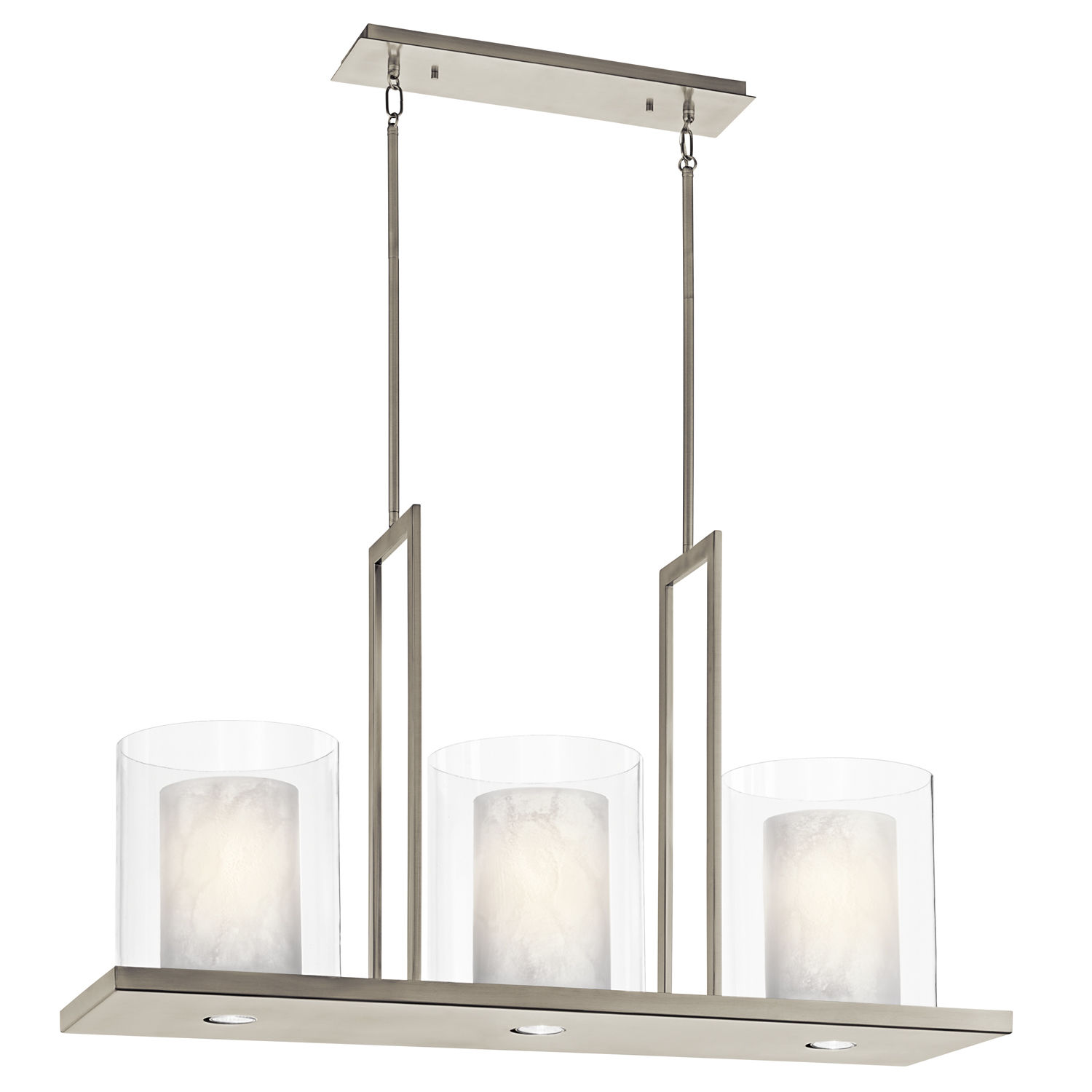 Kichler 42548clp Classic Pewter Triad 6 Light 40 Wide Chandelier With Dual Shades Lightingdirect Com