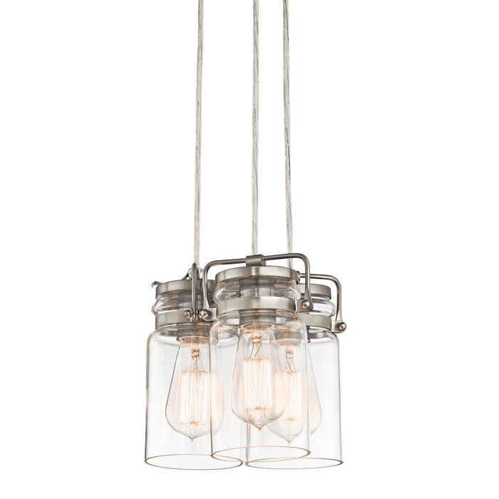 Kichler 42869ni brushed nickel brinley 3 light 9 wide mini pendant kichler 42869ni brushed nickel brinley 3 light 9 wide mini pendant with canning jar style shades lightingdirect aloadofball Image collections
