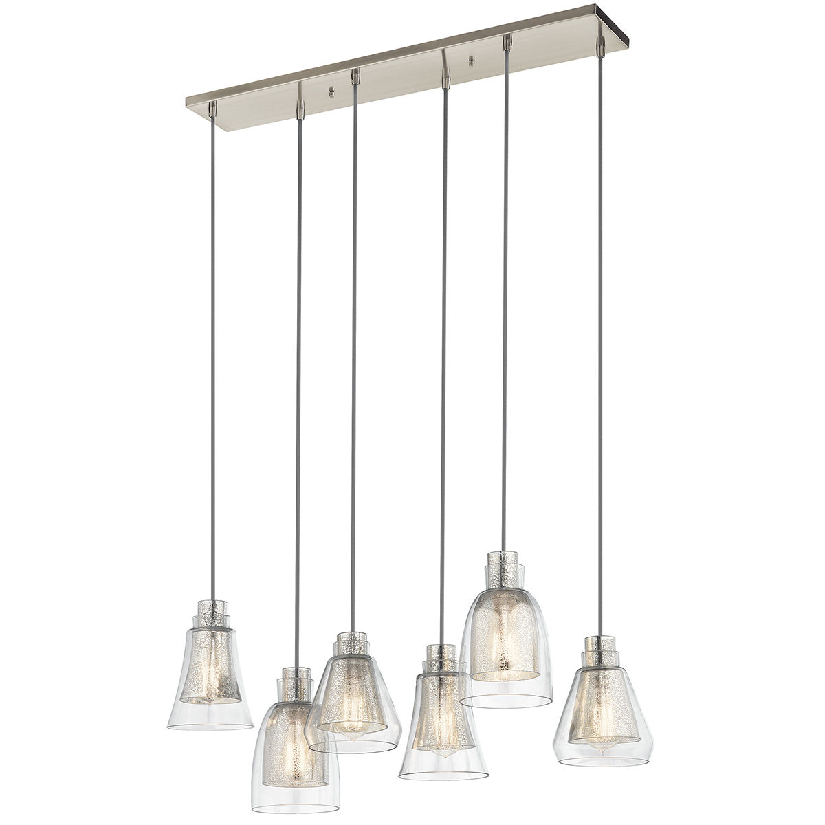 Kichler Brushed Nickel Evie Linear Pendant With Lights