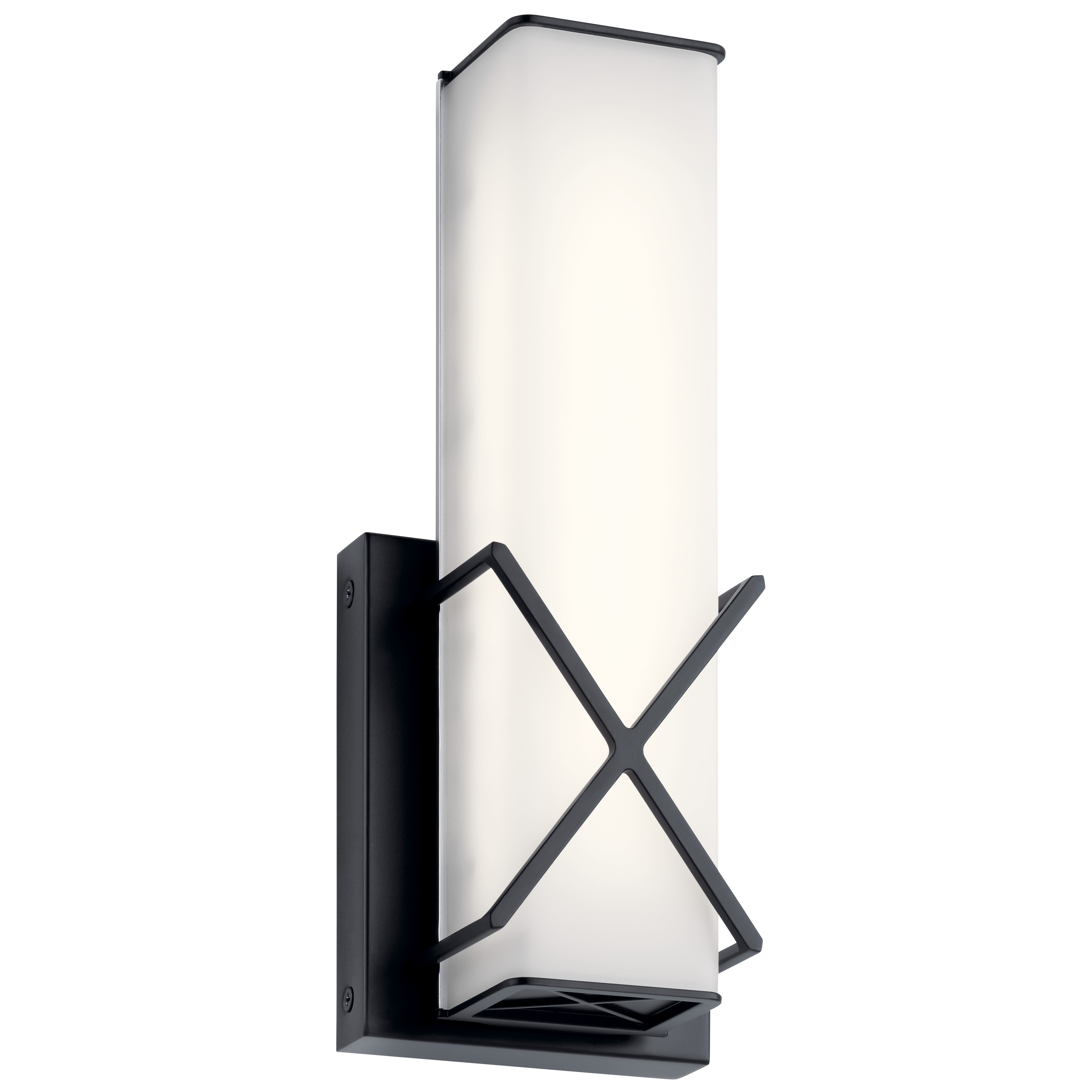 Image of: Kichler 45656mbkled Matte Black Trinsic 12 Tall Led Ada Bathroom Sconce Faucetdirect Com