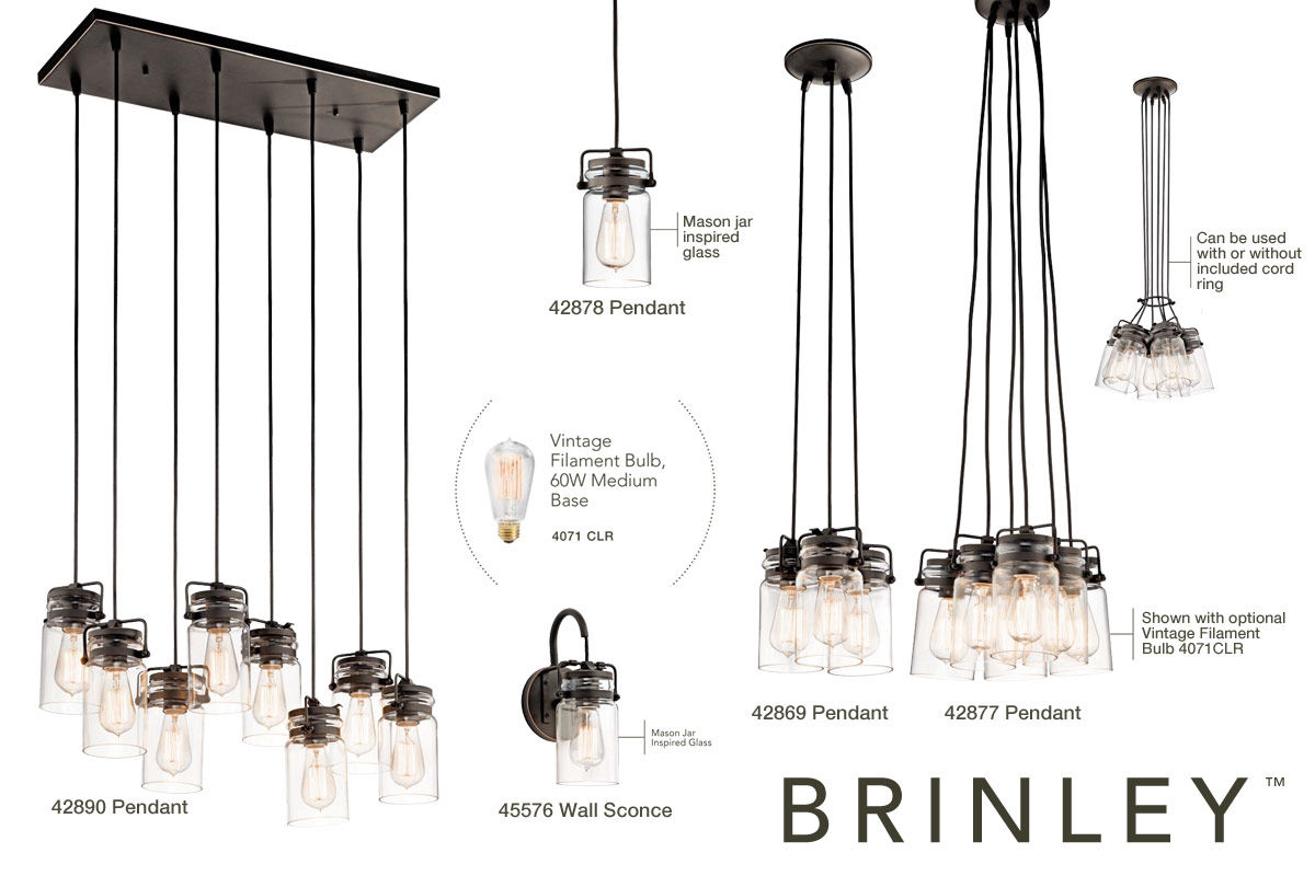 Kichler 42877ni Brushed Nickel Brinley 6 Light 12 Wide Pendant With Canning Jar Style Shades Lightingdirect Com