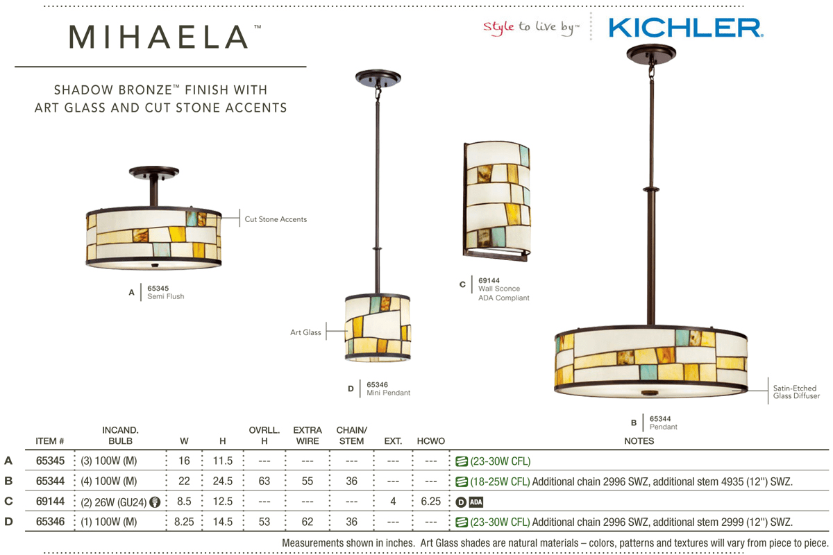 Kichler 69144 Shadow Bronze 2 Light Up Down Lighting Fluorescent Wiring Diagram Wall Sconce With Tiffany Glass Half Cylinder Shade From The Mihaela Collection