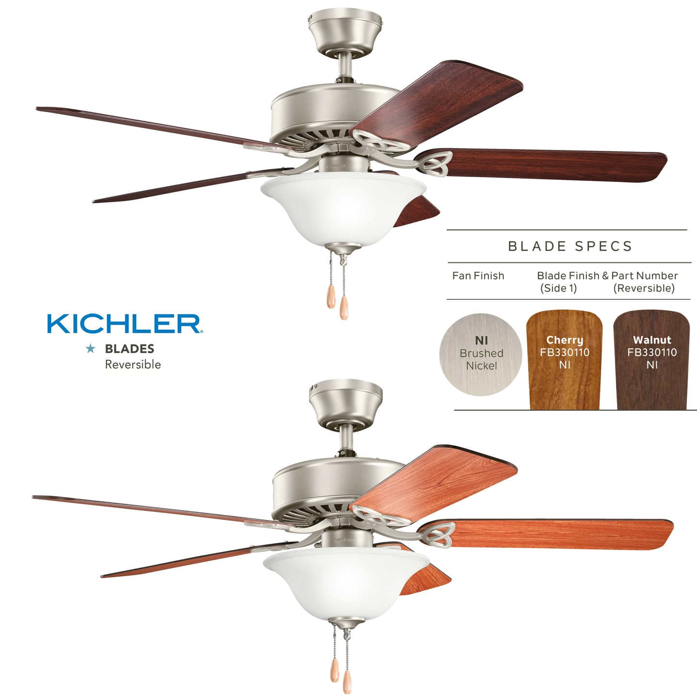 Kichler 330110sgd Sterling Gold 50 Indoor Ceiling Fan With Blades Wiring Diagram Light Kit Downrod And Pull Chain