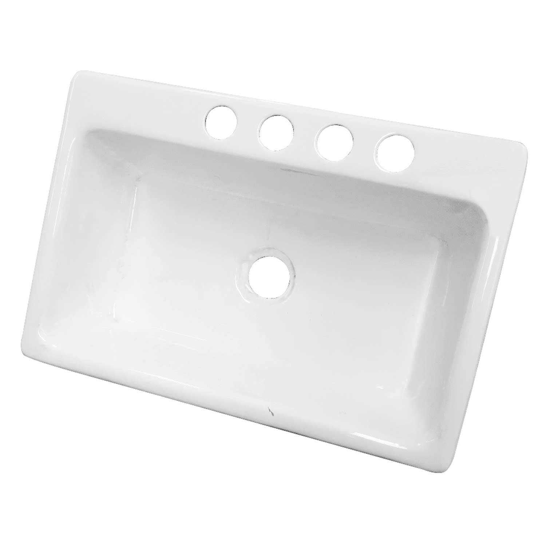 Kingston Brass Gckus33229 White Towne 33 Undermount Single Basin Cast Iron Kitchen Sink Faucet Com