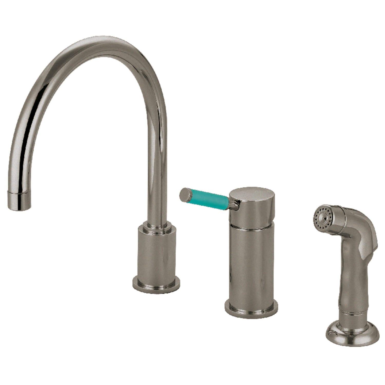 Kingston Brass GS8011DGLSP Green Eden Single-Handle Kitchen Faucet 8-1//2 in Spout Reach Polished Chrome