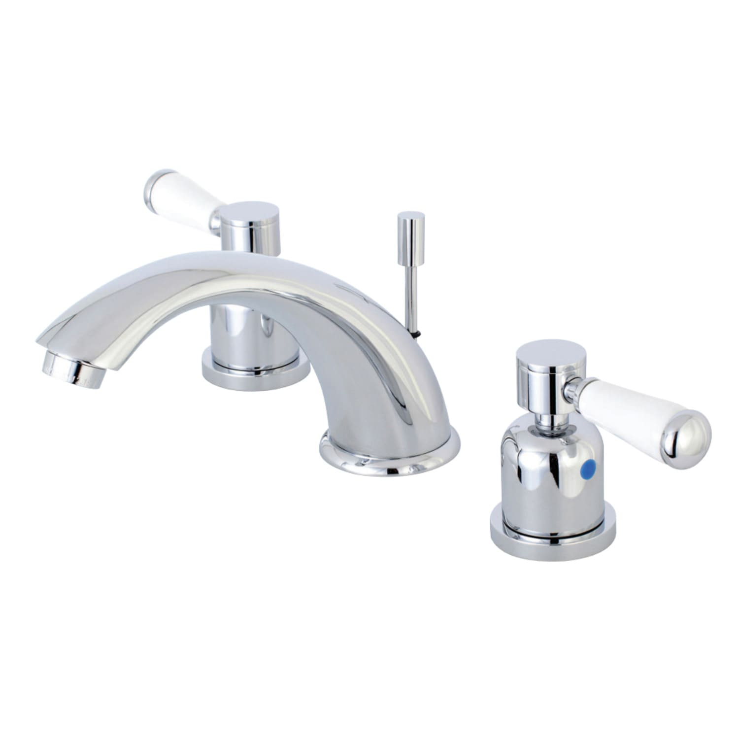 """Kingston Brass Chrome 8/""""-16/"""" Widespread Lavatory Faucet with Porcelain Handles"""