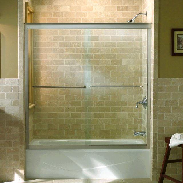 Kohler K-702200-L-MX Matte Nickel Fluence frameless bypass bath door ...