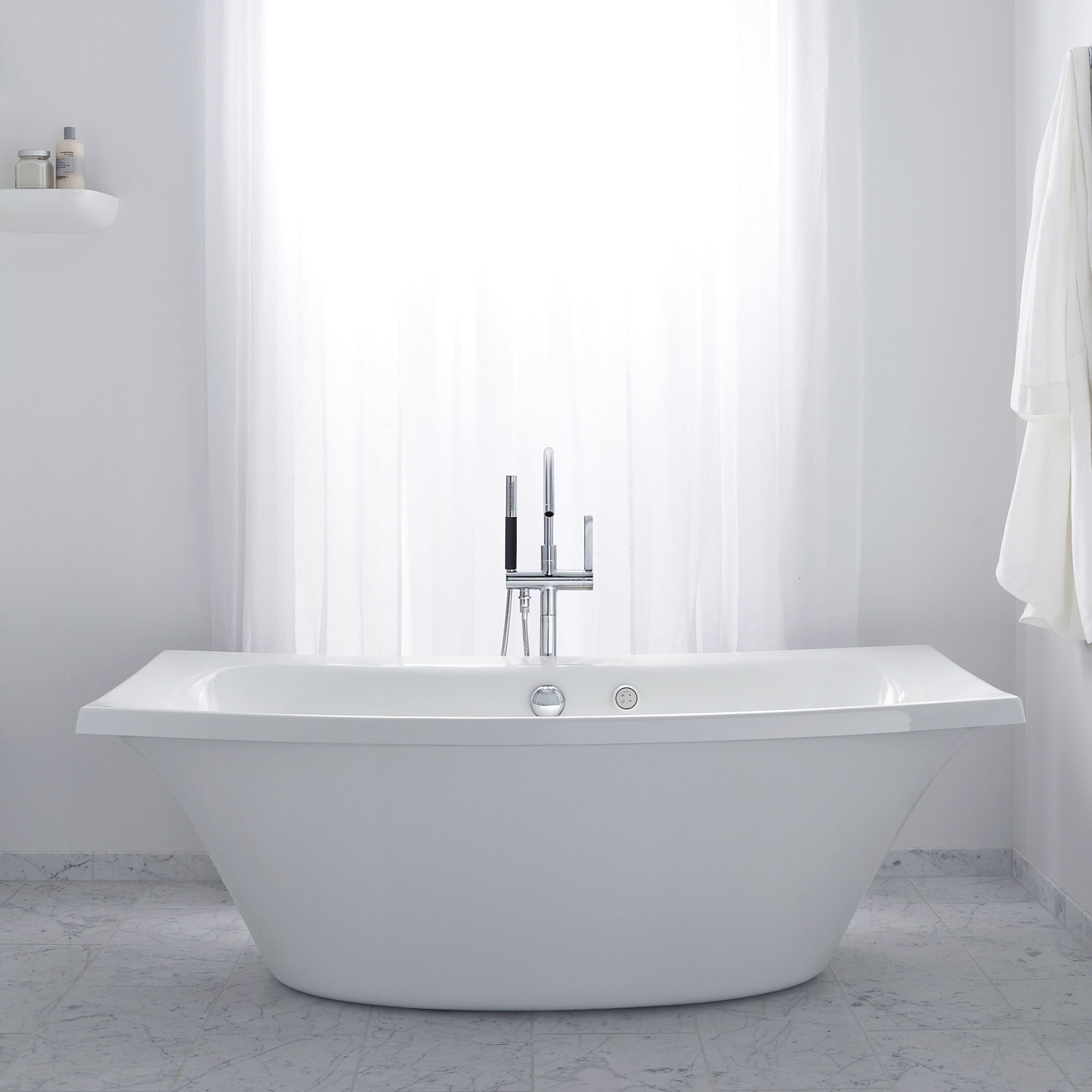 Kohler K 14037 47 Almond 72 X 36 Freestanding Soaking Tub With Center Drain From The Escale Collection Faucet
