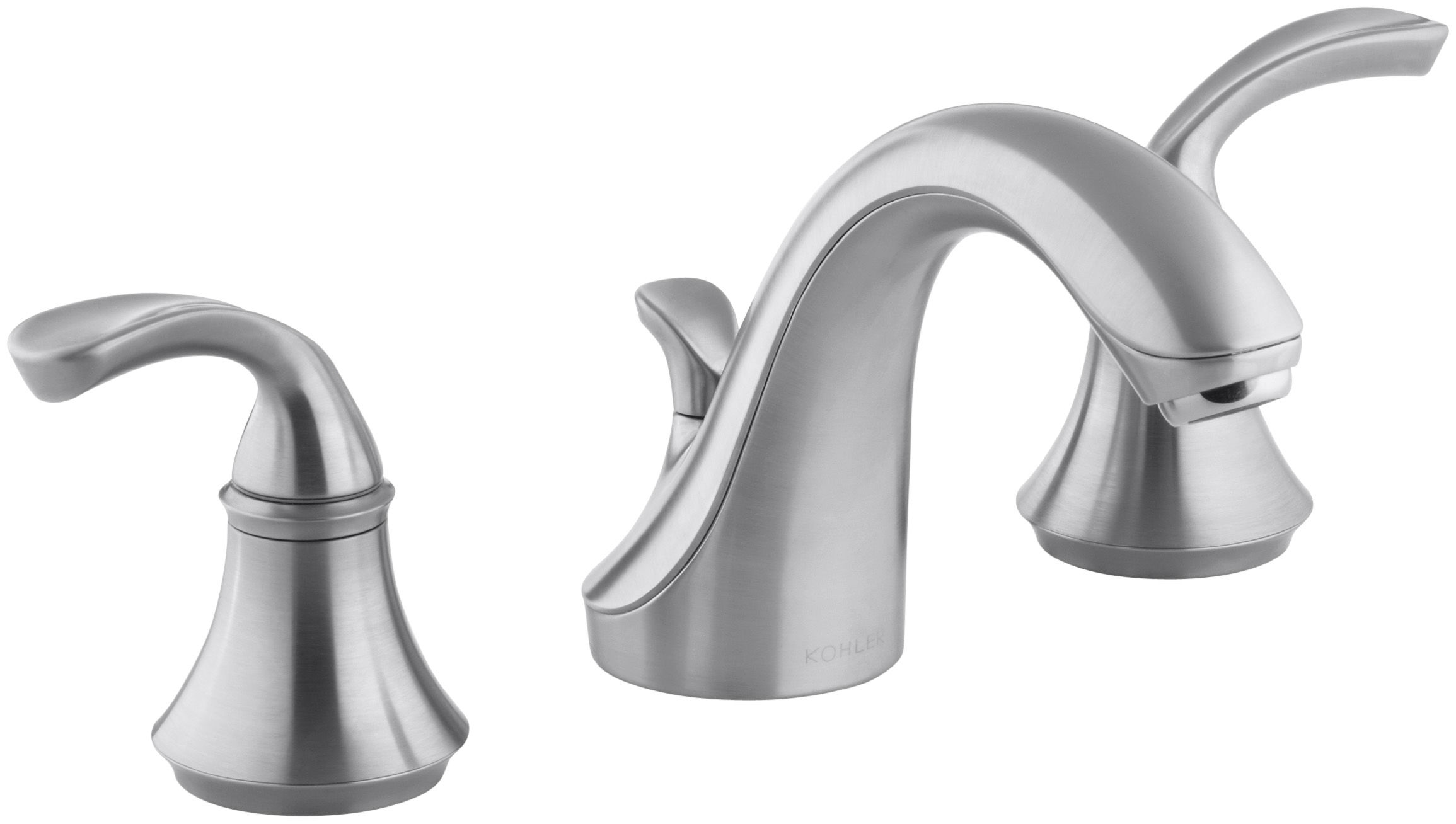 Kohler KG Brushed Chrome Forte Widespread Bathroom Faucet - Kohler bathroom faucet handles