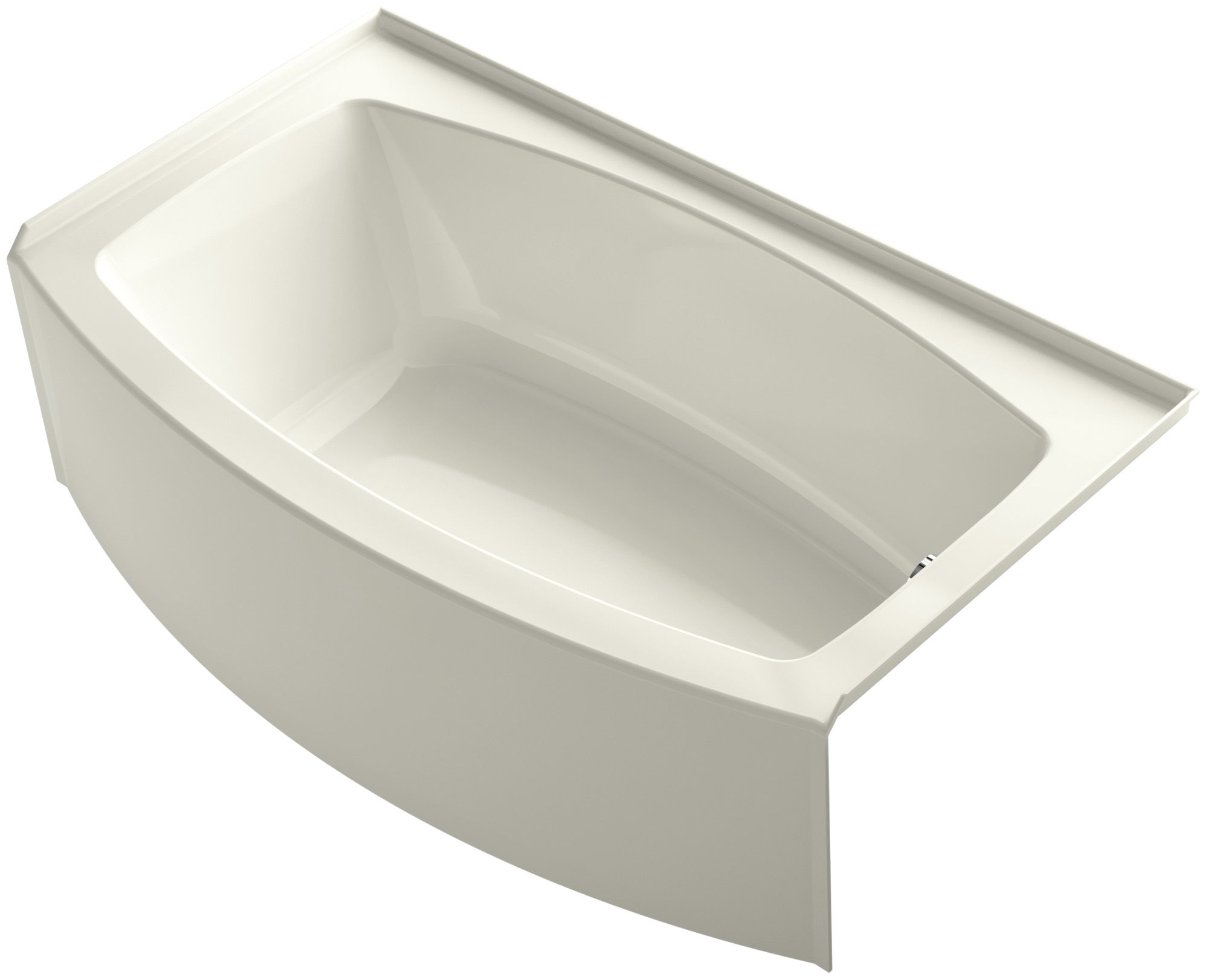 Kohler K 1118 Ra 47 Almond 60 Three Wall Alcove Curved A Soaking Tub With Right Hand Drain Faucet