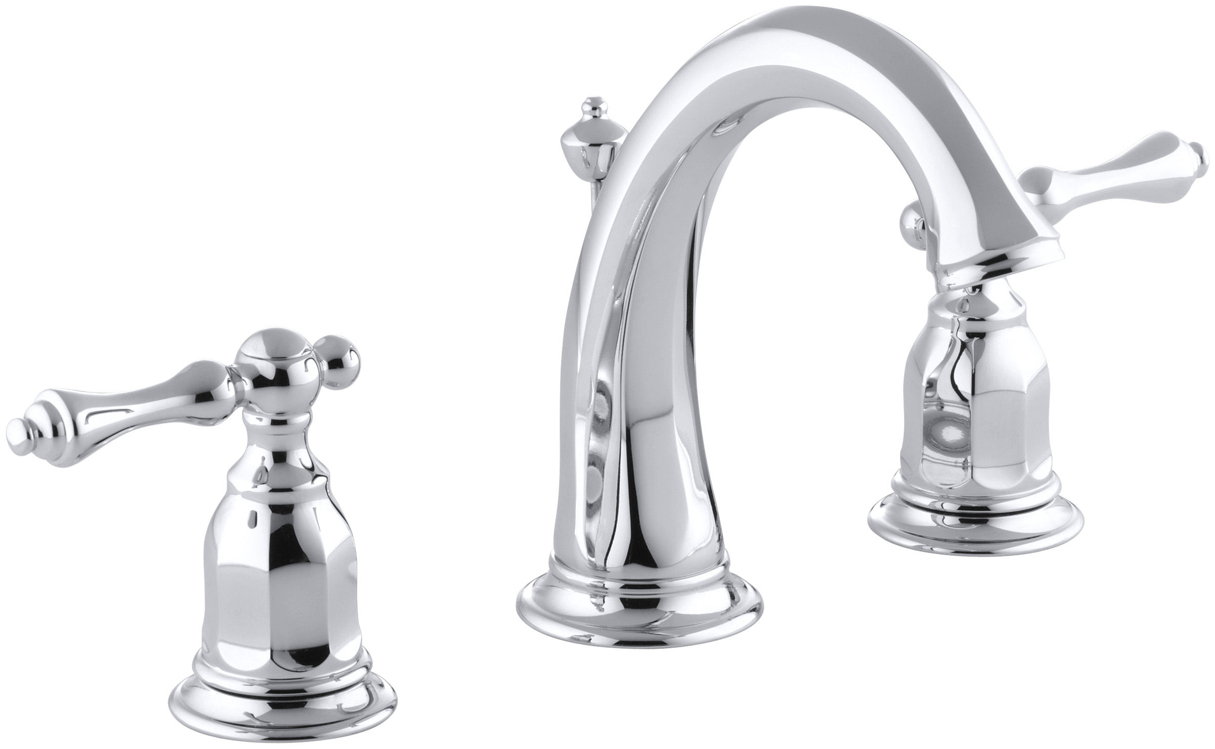 Kohler KCP Polished Chrome Kelston Widespread Bathroom - Kohler bathroom faucet handles