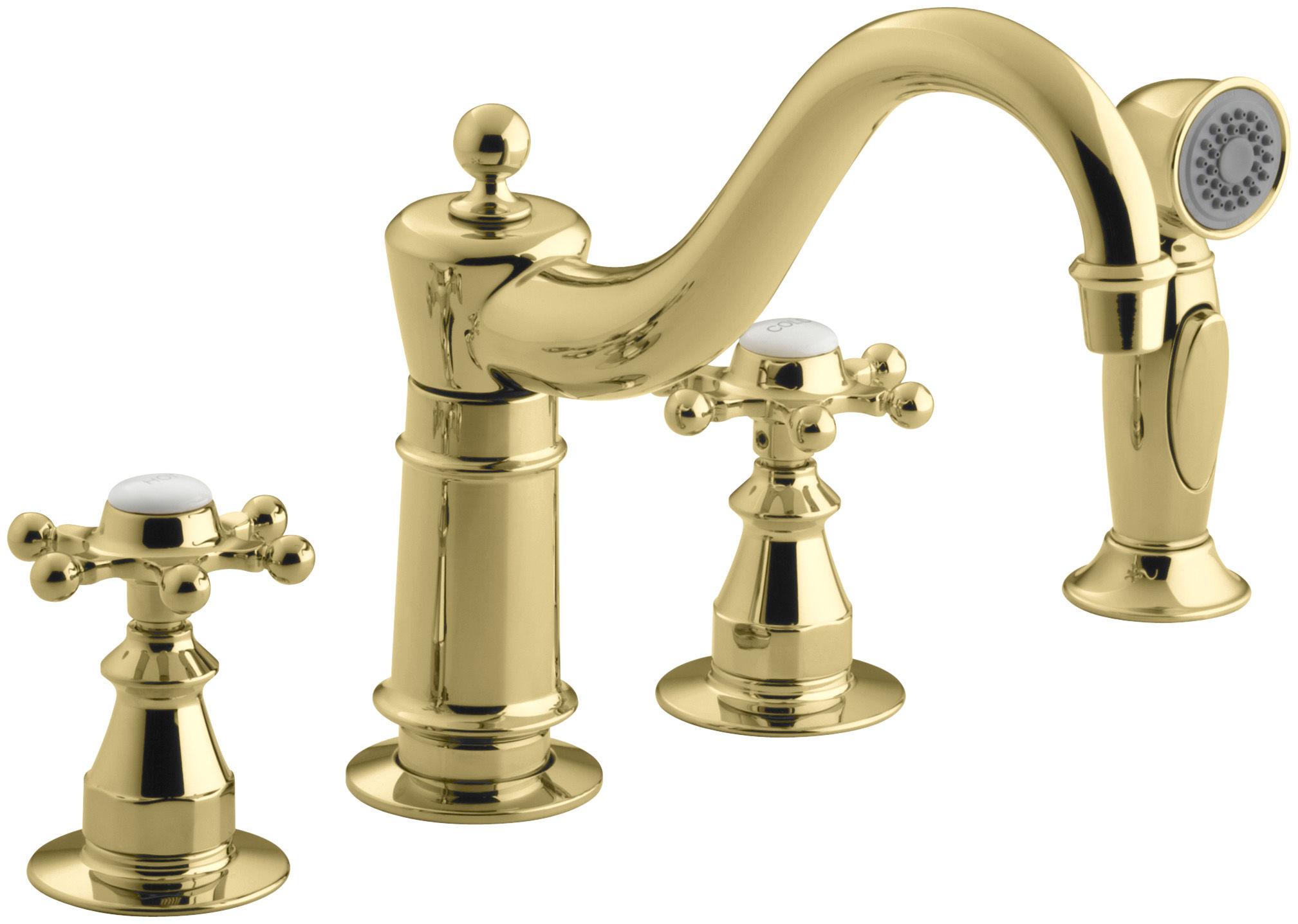 Kohler K-158-3-BN Brushed Nickel Double Handle Kitchen Faucet with ...
