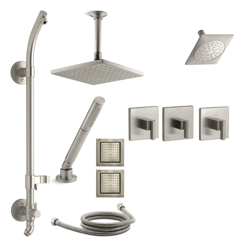 Kohler K LOURE MS18HR 4E CP Polished Chrome Loure Thermostatic HydroRail  Eco Shower System With Single Function Shower Head, Hand Shower, Rain Head,  ...