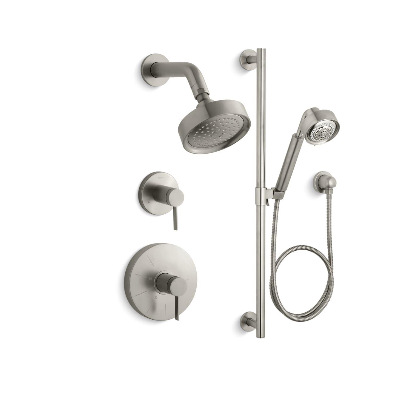 kohler polished chrome stillness ritetemp pressure balanced shower system with shower head and hand shower faucetcom