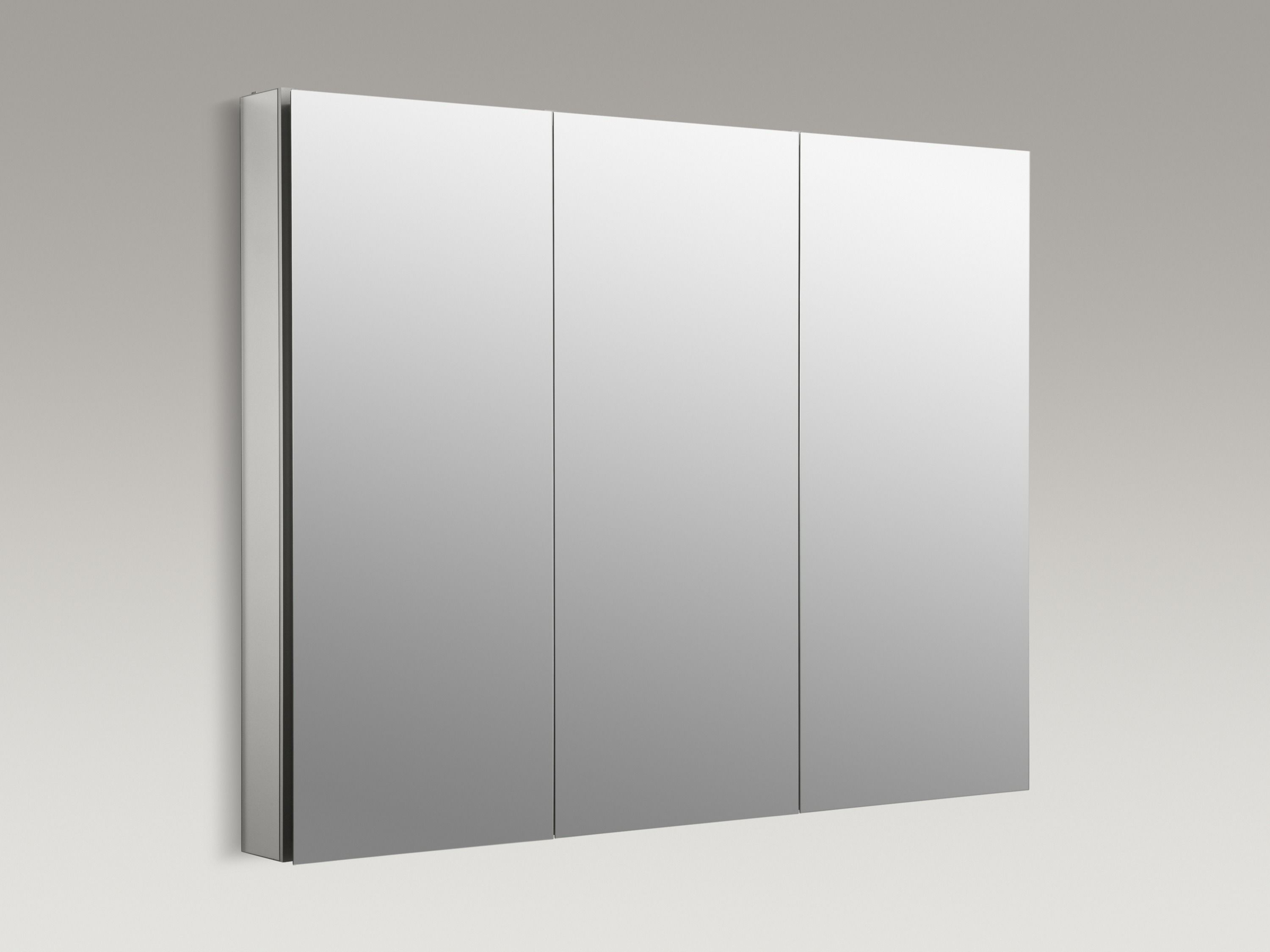 Kohler Catalan45 Satin Anodized Aluminum Catalan 45 Triple Door Frameless Medicine Cabinet Package With Plain Mirror And Ganging Hardware Included