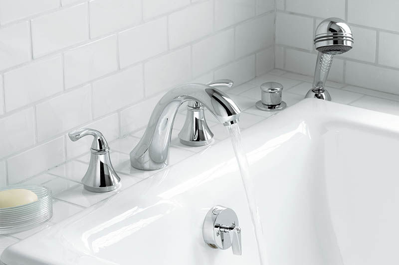 Kohler K T10278 4 BN Brushed Nickel Double Handle Deck Mounted Roman Tub  Filler Trim With Sculpted Lever Handles From The Forte Collection    FaucetDirect. ...