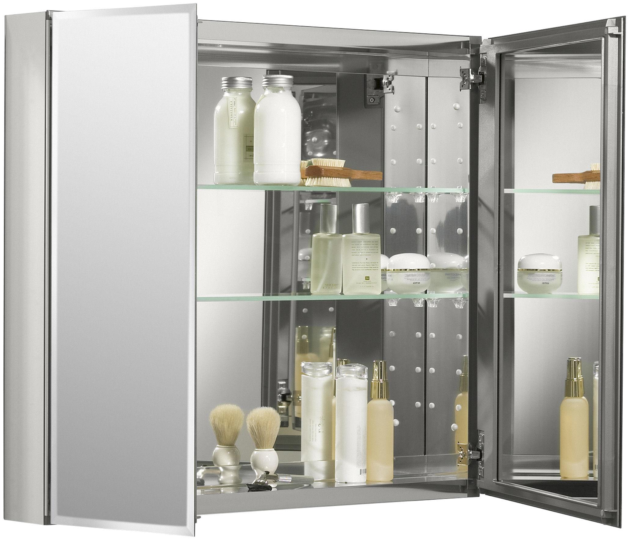Kohler K Cb Clc3026fs Silver Aluminum 30 X 26 Double Door Reversible Hinge Frameless Mirrored Medicine Cabinet Faucet