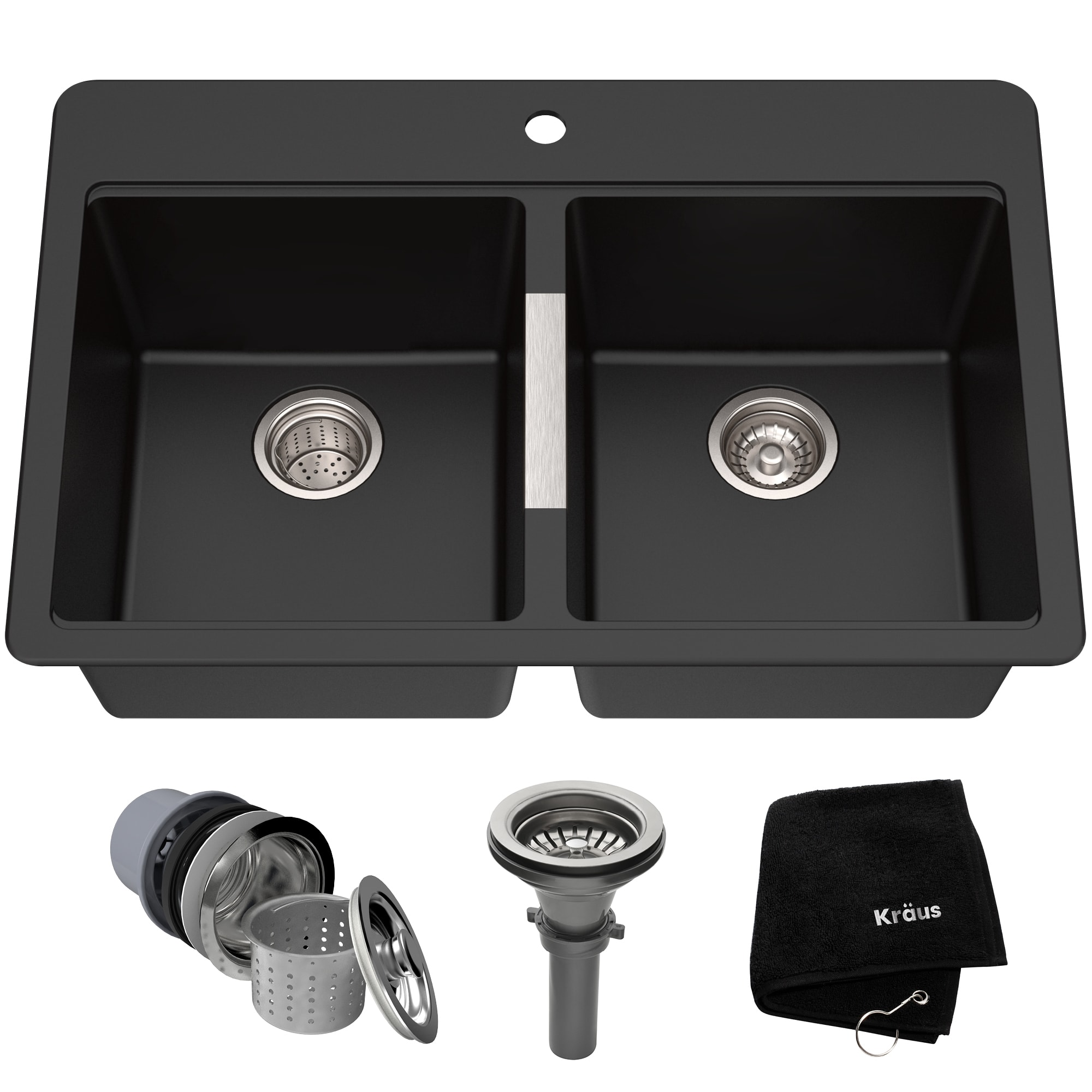 Kraus Kgd 433b Black Onyx 33 Double Basin Dual Mount Drop In Or Undermount Granite Composite Kitchen Sink With 50 50 Split Faucet Com