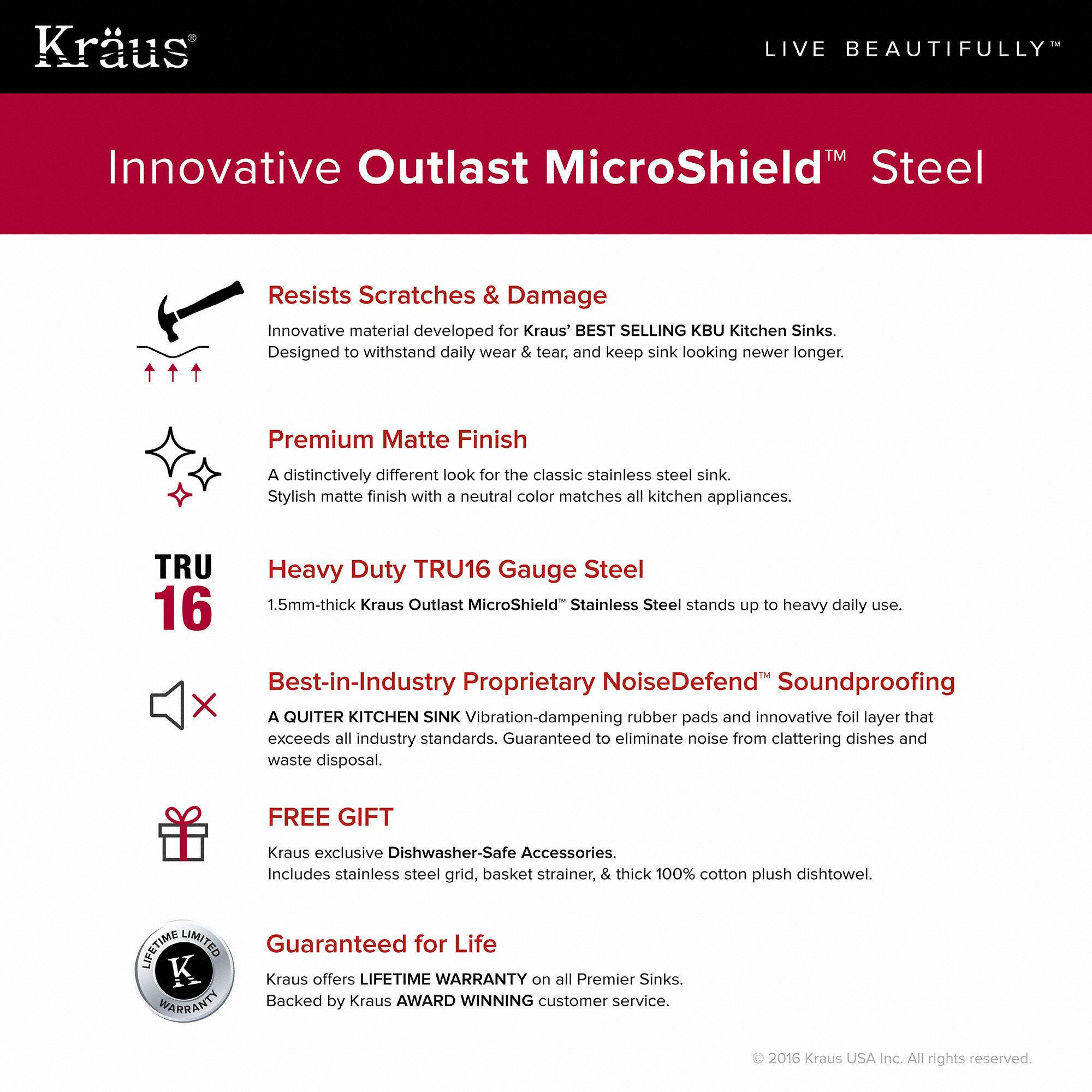 Kraus KBU14E Stainless Steel Outlast MicroShield 31-1/2\