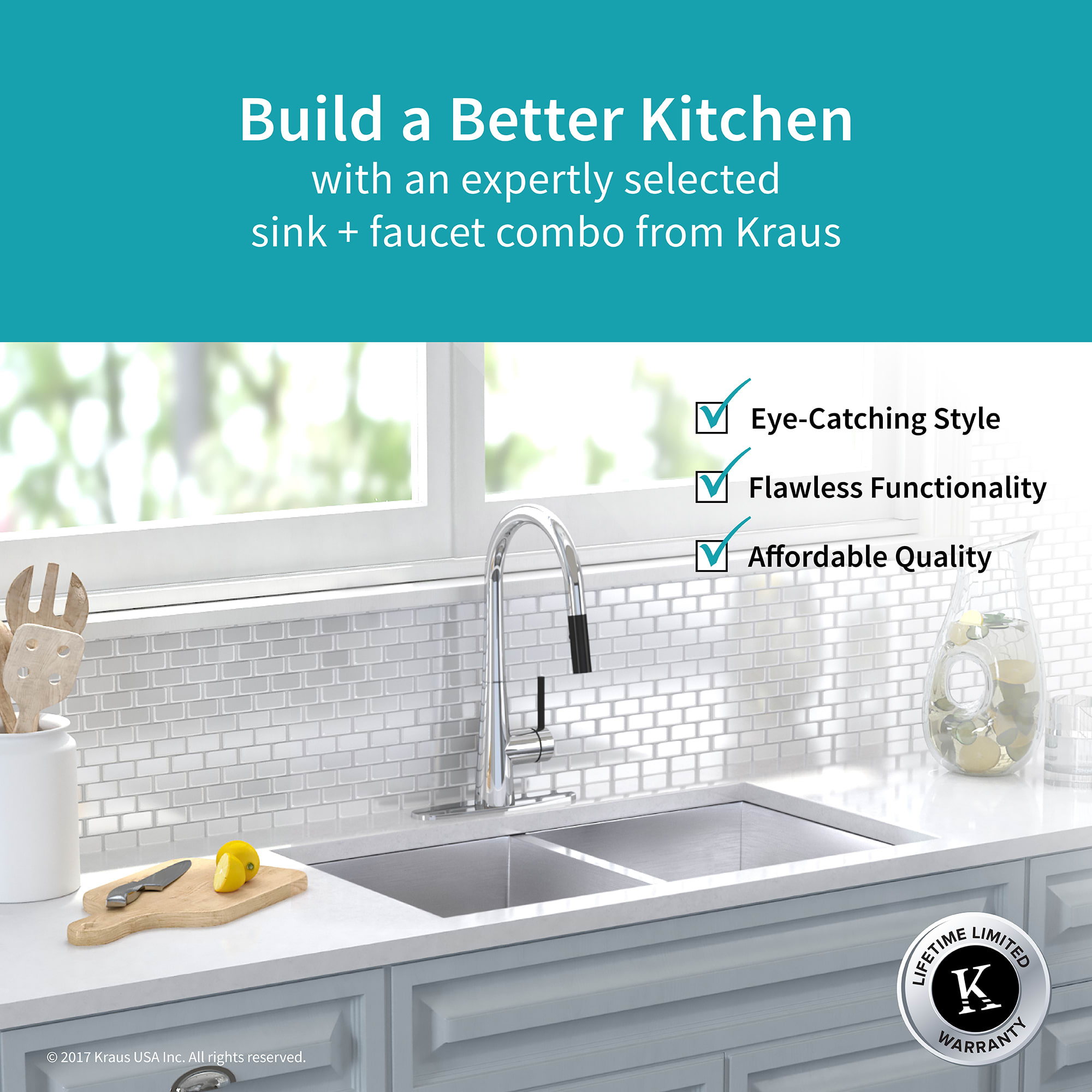 Kraus KHU322-2720-41CH Chrome Kitchen Combo 31-1/2\